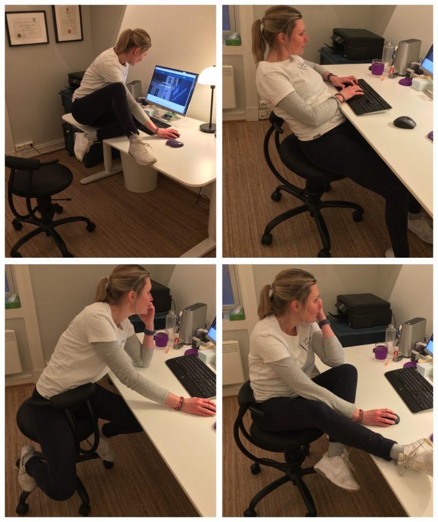 Bilde av forskjellige arbeidstillinger på et kontor.
